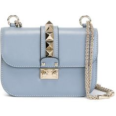 Valentino Garavani 'Glam Lock' shoulder bag ($2,245) ❤ liked on Polyvore featuring bags, handbags, shoulder bags, blue, embellished handbags, locking purse, lock handbag, valentino purses and chain shoulder bag