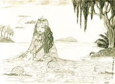 Ladies of the Lake and King Arthur Pen Drawing - Illustration