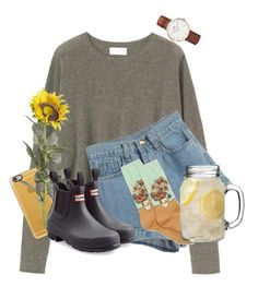 """sunny today"" by amsyes ❤ liked on Polyvore featuring Toast, Casetify, WithChic, Pier 1 Imports, Hunter, HOT SOX and Daniel Wellington"