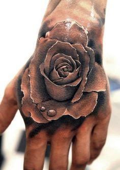 Men's Rose Tattoo On Hand