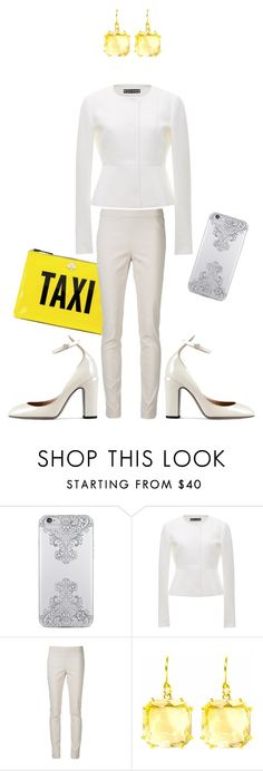 """[164] Just teasing my Uber driver Leonardo."" by ka-berger ❤ liked on Polyvore featuring Nanette Lepore, Kate Spade, Rochas, Twin-Set, Suzanne Kalan, Valentino, yellow, ootd, business and MyStyle"
