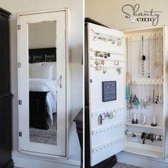 Organized jewelry in a large DIY'd armoire :: OrganizingMadeFun.com
