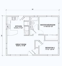 open floor plan 24 x 42 | 24x32 (View Floor Plan) 768 sq.ft.