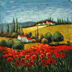 Farm Paintings, Italian Paintings, Indian Art Paintings, Unique Paintings, Beautiful Paintings, Watercolor Landscape, Landscape Art, Landscape Paintings, Landscapes