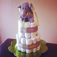 My first diaper cake...a lot easier than I had thought it would be!