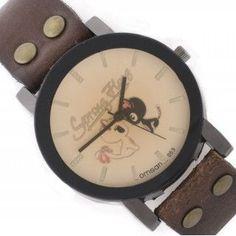 Reloj marrón con esfera en tonos pastel y borde negro. Con dibujos de dos gatos enamorados en su esfera. #reloj #relojpulsera #relojgato