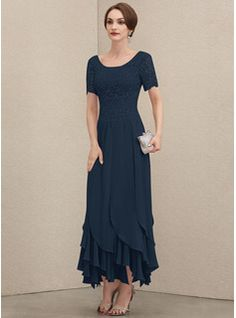 A-Line Scoop Neck Floor-Length Chiffon Lace Mother of the Bride Dress With Ruffle Beading Sequins - JJ's House Brides Mom Dress, Mother Of The Bride Dresses Long, Mother Of Bride Outfits, Mothers Dresses, Ruffle Beading, Tulle Lace, Robes D'occasion, Bride Gowns, Custom Dresses
