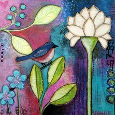 Original Art Sweet Patience canvas by MysticTulipArt Stitch Games, Art Journal Pages, Art Journaling, Whimsical Art, Fabric Painting, Doodle Art, Art Forms, Altered Art, Diy Art