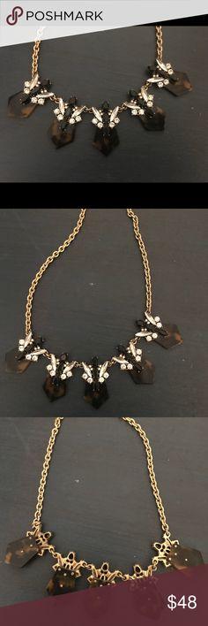 J crew statement necklace- black, brown, diamond J crew statement necklace. Gold base. Black, brown, diamond. excellent condition. J. Crew Jewelry Necklaces