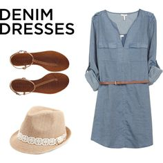 """Stylish Denim Dresses"" by blogbravegirl on Polyvore"