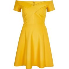 River Island Yellow scuba bardot skater dress ($80) ❤ liked on Polyvore featuring dresses, skater dresses, women, yellow, off shoulder dress, flared dress, off the shoulder dress, flared skater skirt and circle skirt