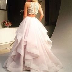 Two Piece Alternative Prom Dress Princess-Inspired Pink Skirt And Embellished Top