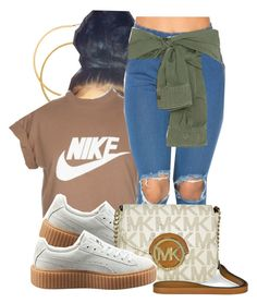 """""""Untitled #618"""" by b-elkstone ❤ liked on Polyvore featuring H&M, NIKE, Faith Connexion, Puma and Michael Kors"""