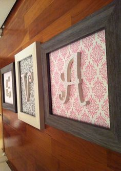 "Vintage ""shabby chic"" framed letters 