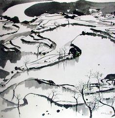 Wu Guanzhong(吴 冠中 Chinese, 1919-2010) 四川水田  More