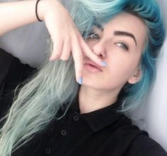 faded ombre blue hair
