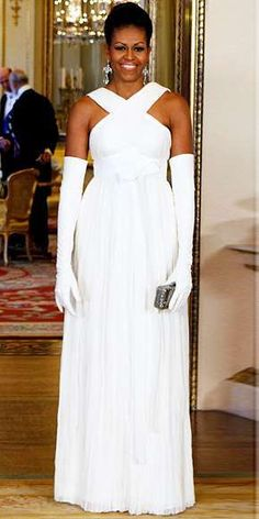 Michelle Obama dined at Buckingham Palace in a white Tom Ford gown.