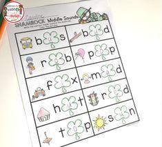 MIDDLE SOUNDS in CVC words - St Patricks Day worksheets for kindergarten - literacy center