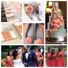 Grey and coral wedding color scheme.