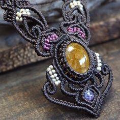 Macrame Necklace Pendant Cabochon Rutilated Quartz Cotton Waxed Cord Handmade #Handmade #Pendant