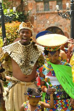 couple in beautiful traditional Zulu outfits African Attire, African Wear, African Dress, African Fashion, Zulu Traditional Wedding, Traditional Dresses, Zulu Wedding, South African Weddings, African Wedding Dress