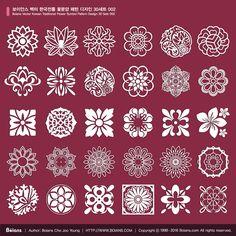 1. Name: Boians Vector Korean Traditional Flower Symbol Pattern Design 30 Sets 002 2. Format: AI 9.0 / RGB Color, Vector 3. License: Standard License, Extended License 4. Price (USD): Standard License, $20, Extended License $60 5. Delivery: Download After Payment 6. South Korea won payment: Caf