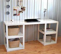 Idee Schreibtisch modern DIY Korb weiß Tisch Arbeit zu Hause
