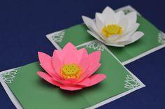 3D Pop-Up Card Templates | Lotus Flower Pop Up Card Template