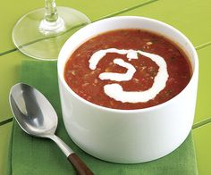 Grilled Watermelon Gazpacho with Lime Crema by Fine Cooking