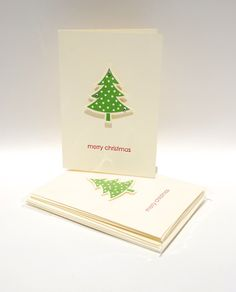 clean and simple design for a 6-pack of #handcrafted #christmas #cards with #christmas #tree by @cardsbylibe