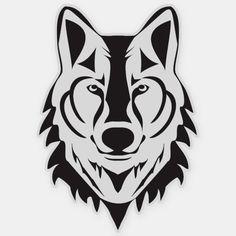 Shop Wolf Vinyl Sticker created by SweetSarahDreamStore. Stencil Lobo, Wolf Stencil, Stencils, Wolf Silhouette, Silhouette Vector, Tribal Lobo, Wolf Sketch, Timberwolf, Wolf Face