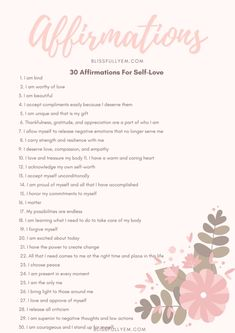 Affirmations are perfect to help boost confidence and promote self-love. They can be tailored to fit your needs and can be used anywhere! Here's a printable list for you to bring wherever you may… Positive Affirmations Quotes, Affirmations For Women, Self Love Affirmations, Morning Affirmations, Affirmation Quotes, Gratitude Quotes, Reiki, Self Care Activities, Good Habits
