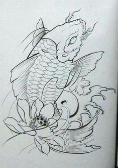 Japanese Drawings, Japanese Tattoo Art, Japanese Art, Asian Tattoos, Fish Tattoos, Tattoo Sketches, Tattoo Drawings, Pez Koi Tattoo, Chinese Tattoo Designs