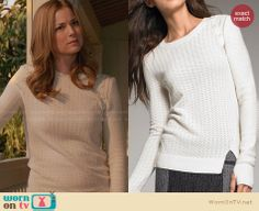 Emily's white sweater with shoulder buttons on Revenge. Outfit Details: http://wornontv.net/28787 #Revenge #fashion