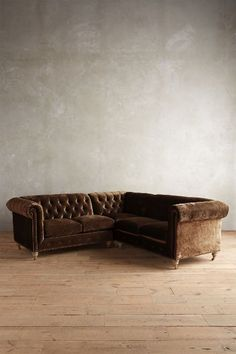 Slub Velvet Lyre Chesterfield Sectional, Wilcox - anthropologie.com