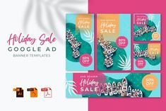 Holiday Banner, Google Ads, Holiday Sales, Banner Template, Social Media, Seasons, Templates, Stencils, Seasons Of The Year