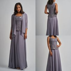 Dark Gray Mother Of the Bride Dresses Full Length 3 Pieces With Jacket Formal Formal Dresses For Women, Formal Evening Dresses, Formal Gowns, Peplum Dress, Lace Dress, Wedding Jacket, Lace Jacket, Mothers Dresses, Dress Suits