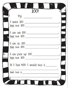 100 Poem (Fill in the blanks). Great for Day of School or Teaching the number Next year. 100 Days Of School, School Holidays, School Fun, School Stuff, School Craft, Summer School, 100s Day, 100 Day Celebration, Hundred Days