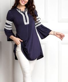 Loving this Navy Lace-Panel Tunic - Plus on #zulily! #zulilyfinds