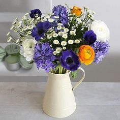 Spring Jug Bouquet With Free Express Delivery - From Lakeland Valentine Treats, Valentines, Cosy Interior, Spring Bouquet, Metallic Paint, Flower Delivery, Pretty Flowers, Beautiful Hands, Floral Wreath