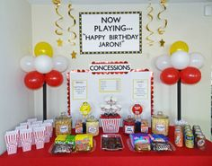Popcorn/movie night concession stand I made for J's birthday party.