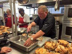 Mr. @Rococos Chef Bruce Rinehart preparing chicken for the @Salvationarmyok cooking demo.