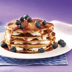 Blueberry cheesecake flapjacks!