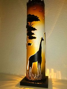 Sunset over the Savannah PVC tube lamp Upcycled Crafts, Diy And Crafts, Columns Decor, Pvc Pipe Crafts, Pipe Lighting, Pvc Projects, Bamboo Crafts, Handmade Lamps, Pipe Lamp