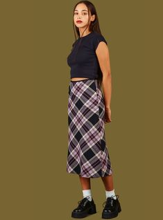 Plaid midi-skirt with ribbon trim at the waist and a hidden zipper on the side seam. Material is a nice midweight custom fabric made just for us. Model is and wearing a size S. Midi Skirt Outfit, Long Skirt Outfits, Midi Skirts, Jean Skirts, Denim Skirts, Long Skirts, Dress, Unif Clothing, Modest Clothing