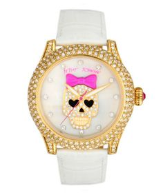 BETSY JOHNSON SKULL WITH LEATHER STRAP WATCH