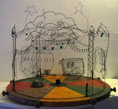 This wire sculpture looks as if the stage is derelict and abandoned. Adds a spooky feel.