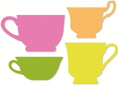 4 Tea Cups Silhouette Shapes
