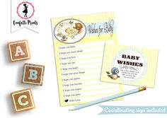 Baby Shower Games  WISHES FOR BABY  Baby by ConfettiPrintsShop