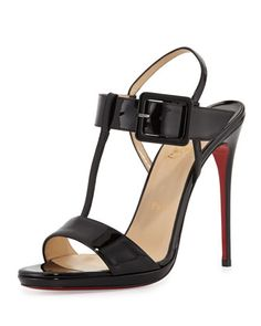 Beltega Patent Red Sole Sandal, Black by Christian Louboutin at Neiman Marcus.